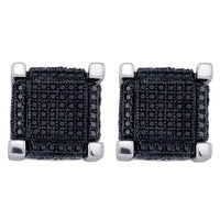 Men's 1.00 Ct Diamond Black Color Enhanced 3D Square Cube Cluster Earrings in 10K White Gold