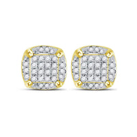 Men's 1/5 Ct Diamond Cluster Stud Earrings in 10K Yellow Gold
