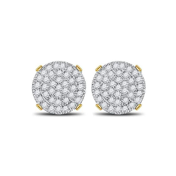 Men's 1/4 Ct Diamond Circle Cluster Stud Earrings in 10K Yellow Gold