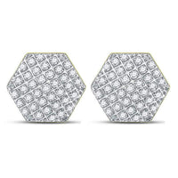 Men's 1/5 Ct Diamond Hexagon Cluster Stud Earrings in 10K Yellow Gold