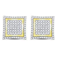 Men's 1.00 Ct Diamond Square Kite Cluster Stud Earrings in 10K Yellow Gold