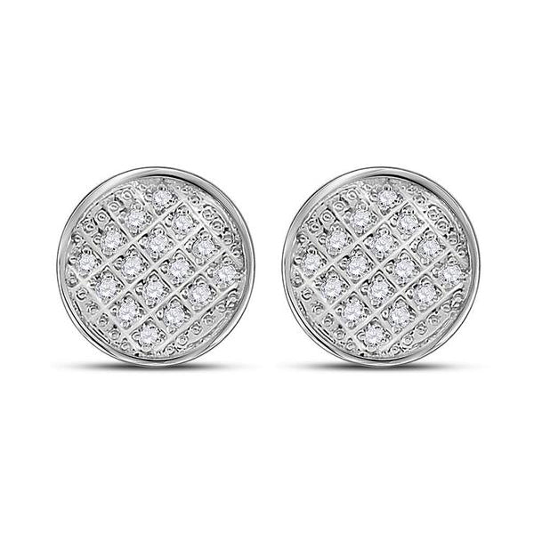 Men's 1/12 Ct Diamond Circle Cluster Stud Earrings in 10K White Gold