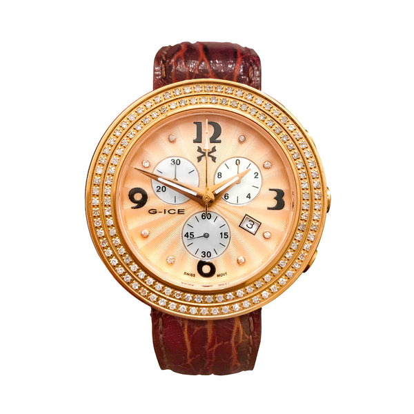 Women's Diamond Swiss Rose Gold 40mm Chronograph Ice Watch