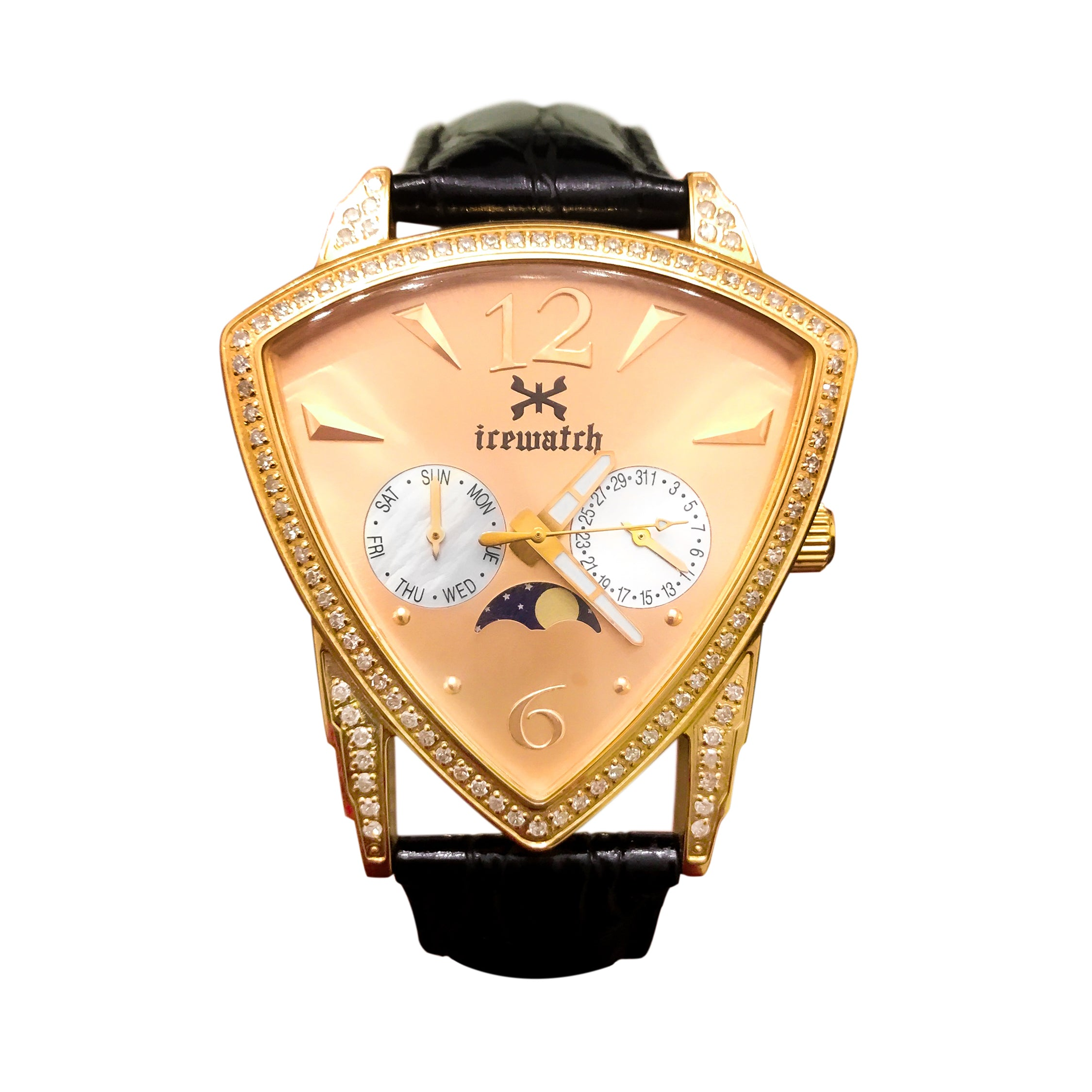 Women's Diamond Rose Gold 40mm Day-Date Moonphase Ice Watch