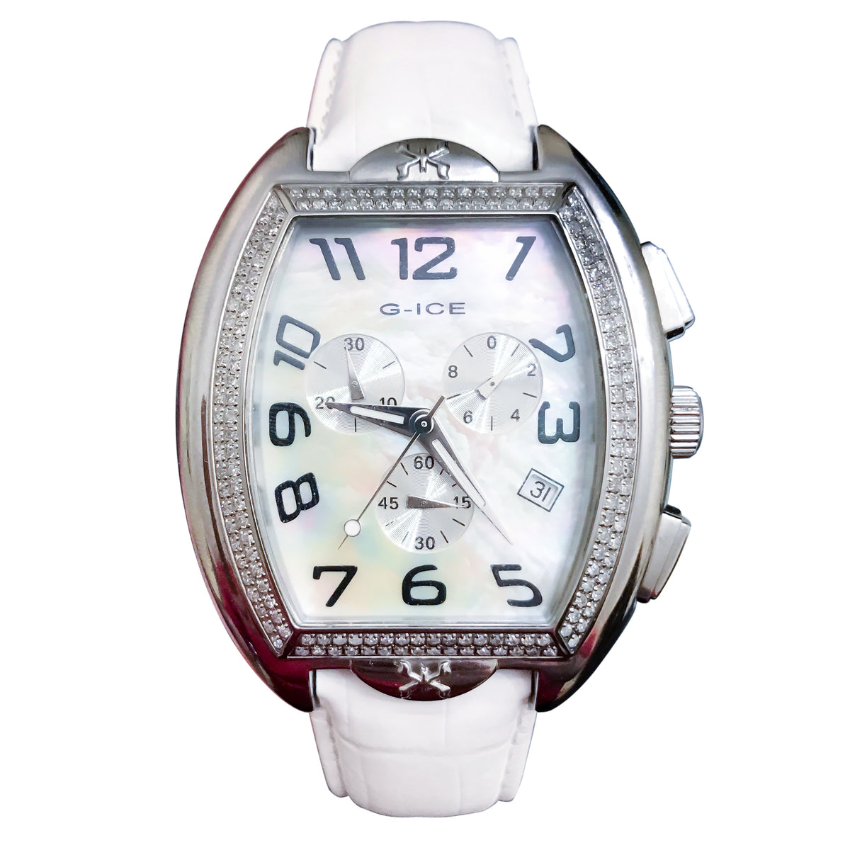 Men's Diamond Swiss White Pearl 45mm Chronograph Ice Watch