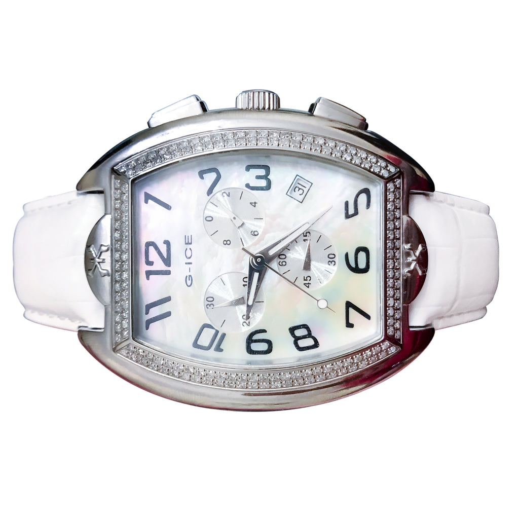 Men S Diamond Swiss White Pearl 45mm Chronograph Ice Watch