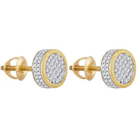 Men's 7/8 Ct Diamond Fluted Circle Cluster Stud Earrings in 10K Yellow Gold
