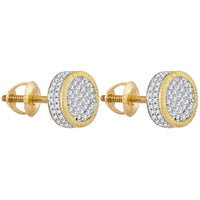 Men's 1/2 Ct Diamond Fluted Circle Cluster Stud Earrings in 10K Yellow Gold