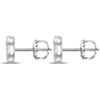 Men's 1/10 Ct Diamond Hexagon Cluster Stud Earrings in 10K White Gold