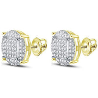 Men's 5/8 Ct Diamond Circle Cluster Stud Earrings in 10K Yellow Gold
