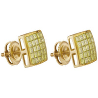Men's 1.00 Ct Diamond Princess Yellow Color Enhanced Square Cluster Earrings in 10K Yellow Gold