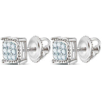 Men's 1/10 Ct Diamond Square Milgrain Cluster Earrings in 10K White Gold