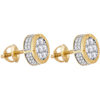 Men's 7/8 Ct Diamond Unisex Cluster Milgrain Earrings in 10K Yellow Gold