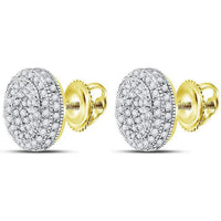 Men's 5/8 Ct Diamond Circle Cluster Earrings in 10K Yellow Gold