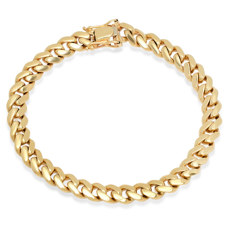 14K Yellow Gold Men's Solid Miami Cuban Link Bracelet