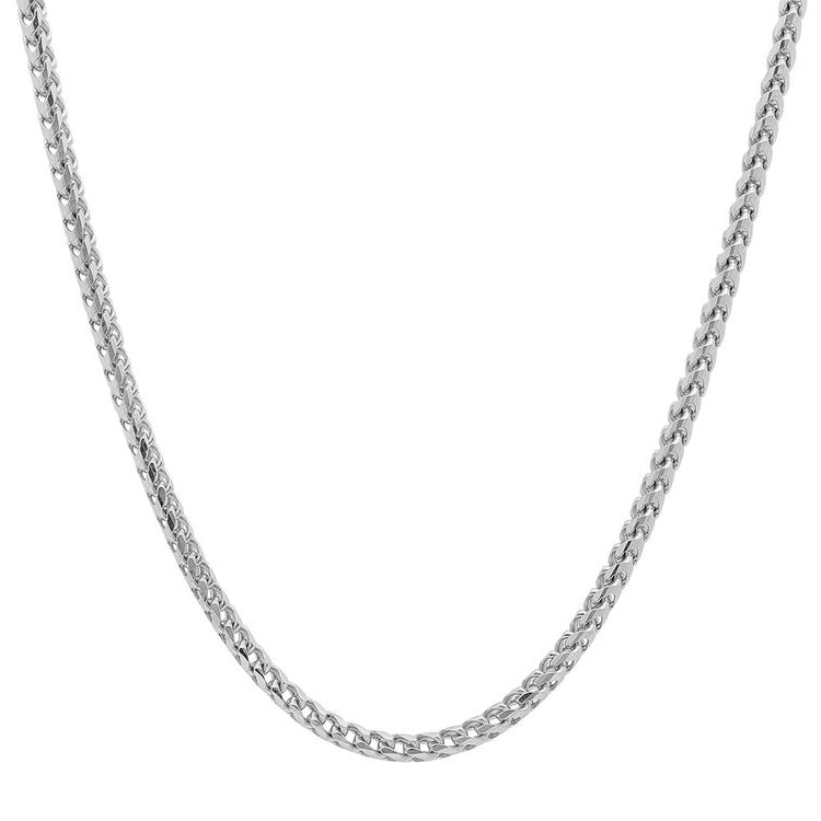 10K White Gold Men's Hollow Franco Chain