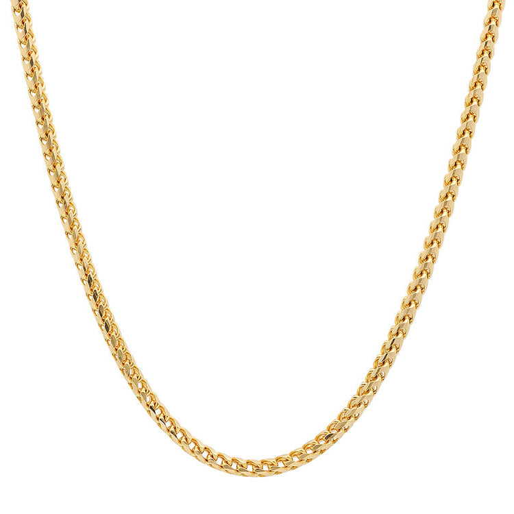 14K Yellow Gold Men's Hollow Franco Chain