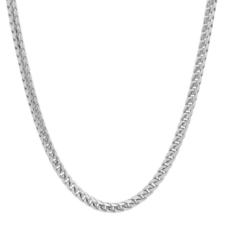 10K White Gold Men's Solid Franco Chain