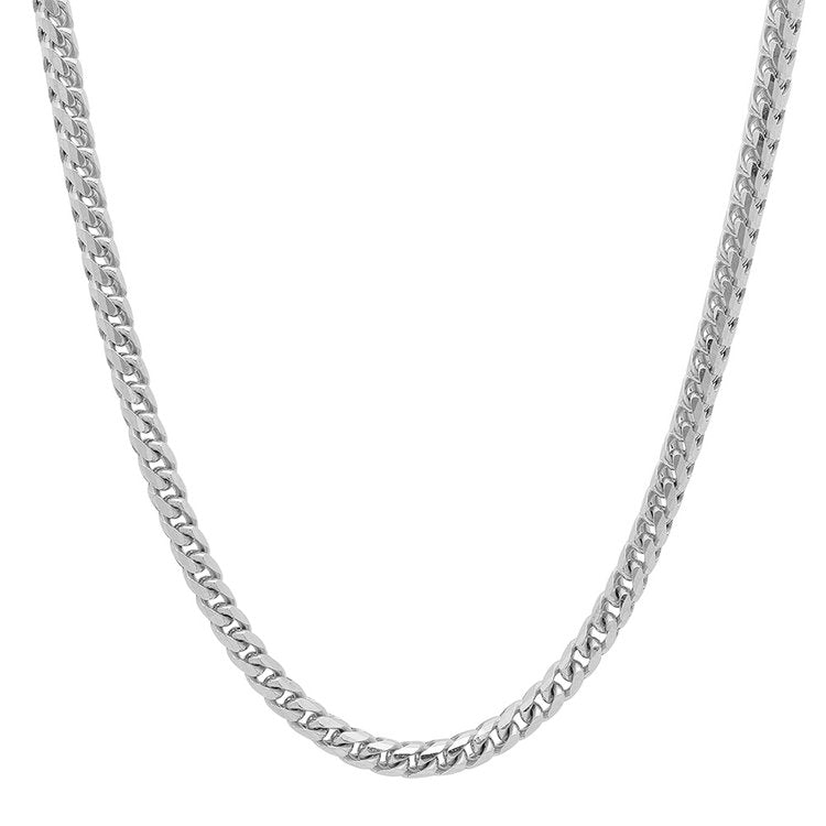 14K White Gold Men's Solid Franco Chain