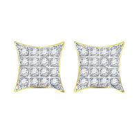 Men's 1/10 Ct Diamond Kite Square Cluster Stud Earrings in 10K Yellow Gold
