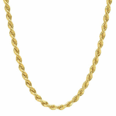 10K Yellow Gold Men's Hollow Rope Chain