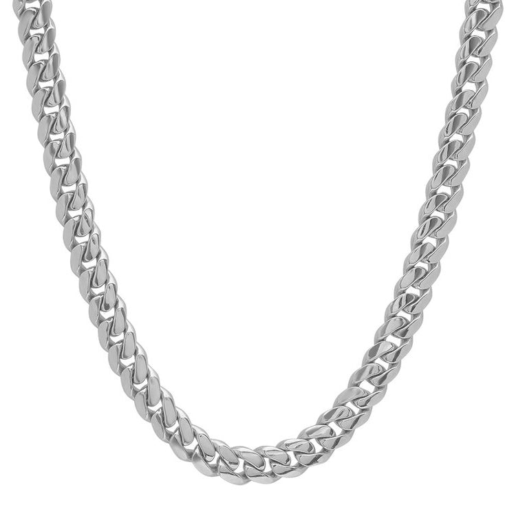 10K White Gold Men's Hollow Miami Cuban Link Chain