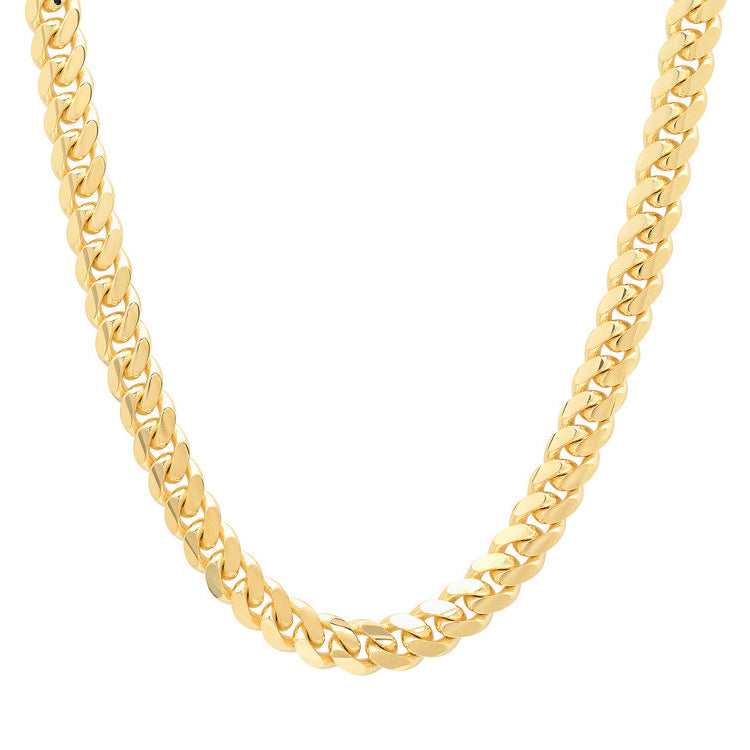 10K Yellow Gold Men's Hollow Miami Cuban Link Chain