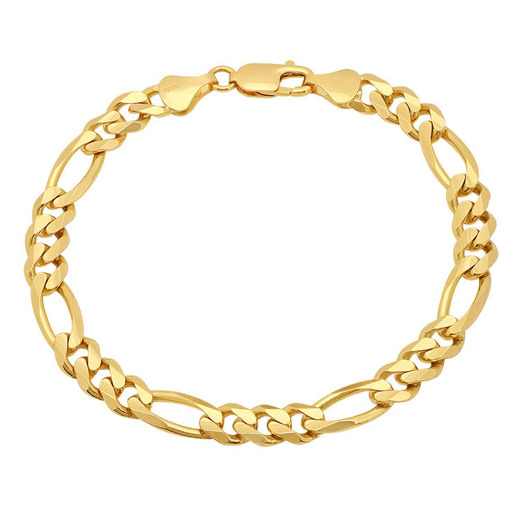 14K Yellow Gold Men's Solid Figaro Bracelet