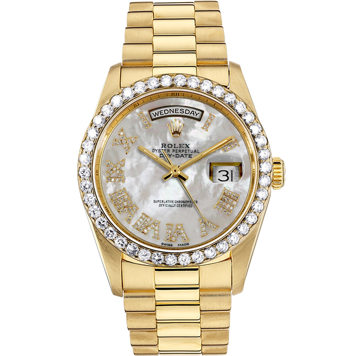 Diamond Rolex Presidential 18K Gold Day-Date 36 Pearl Roman Watch
