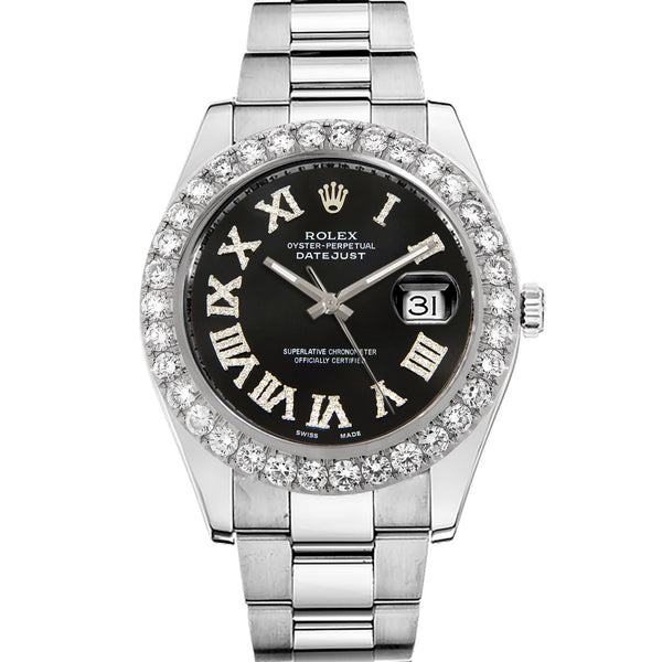 Diamond Rolex Datejust II 41 Stainless Steel Black Roman Watch