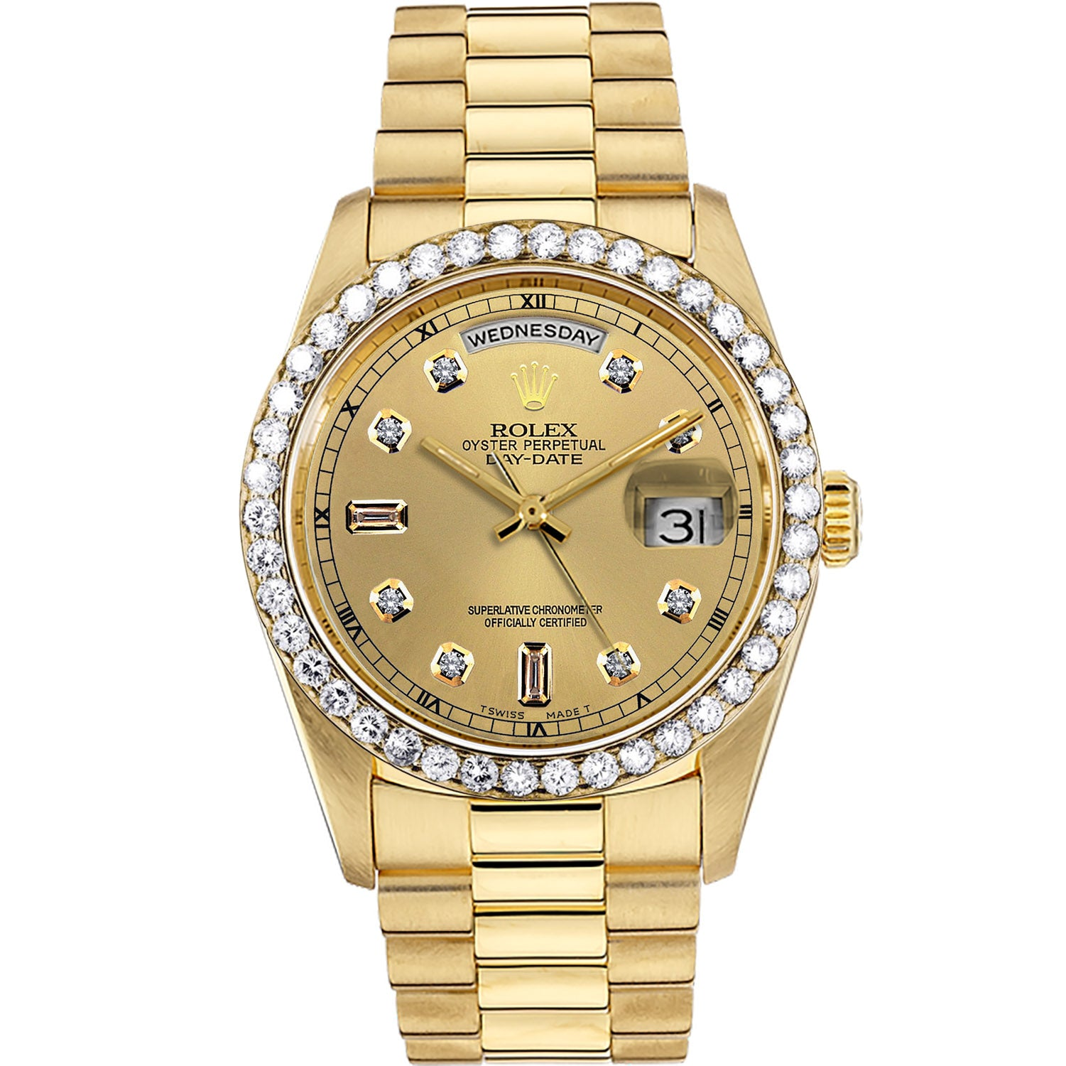 Diamond Rolex Presidential 18K Gold Day-Date 36 Gold Baguette Watch