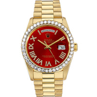 Diamond Rolex Presidential 18K Gold Day-Date 36 Red Roman Watch
