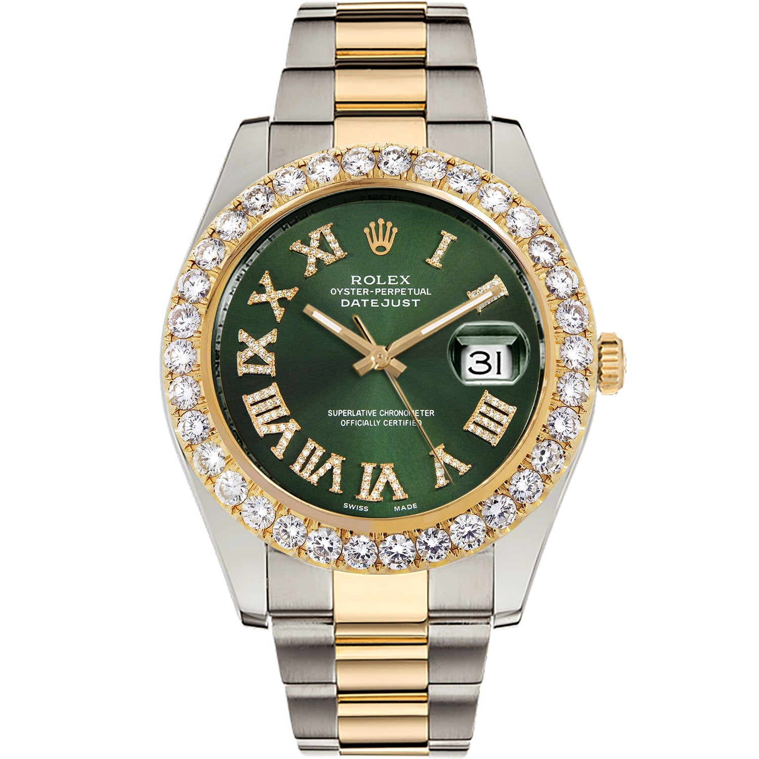 Diamond Rolex Two-Tone Datejust II 18K Gold 41 Green Roman Watch