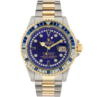 Diamond Rolex Submariner Two-Tone 18K Gold Blue Sapphire Watch