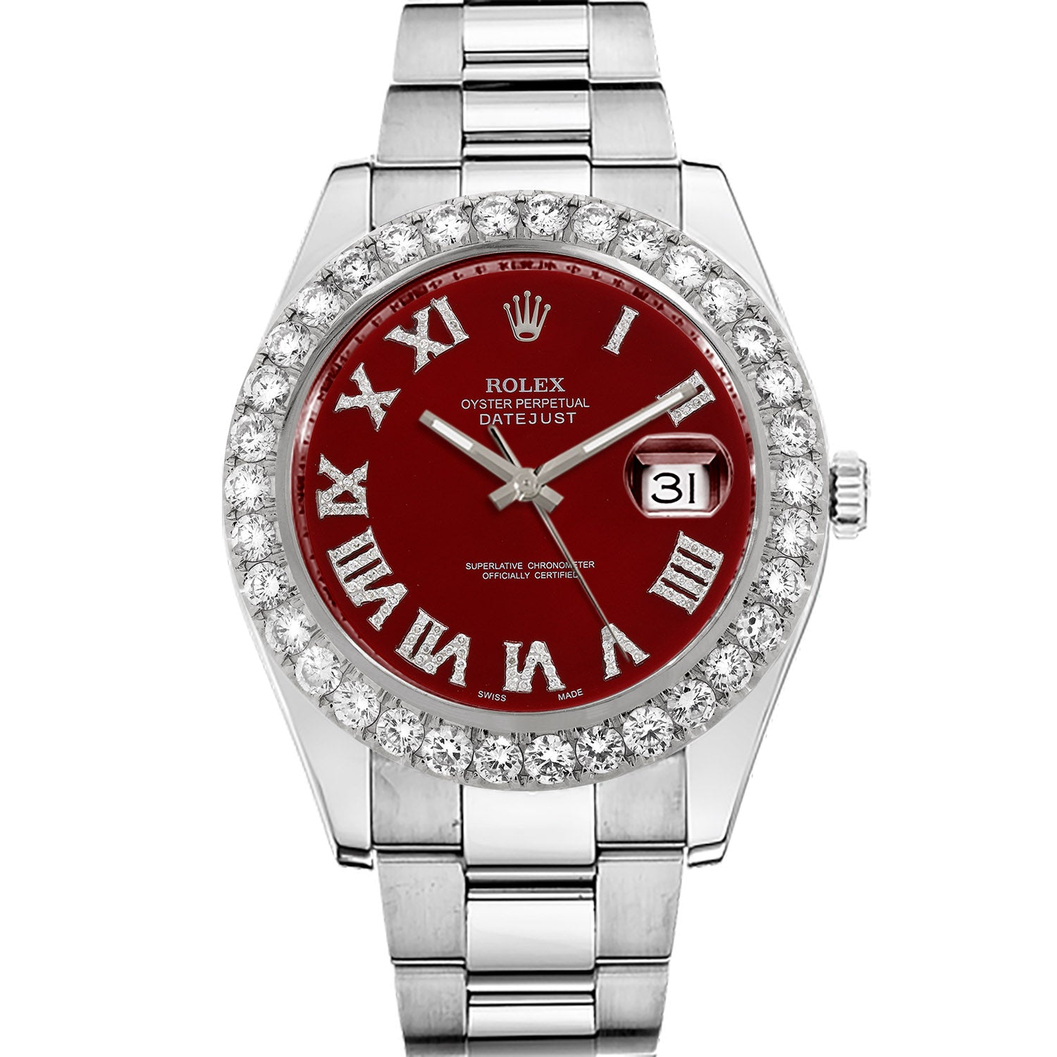 Diamond Rolex Datejust II 41 Stainless Steel Red Roman Watch