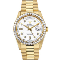 Diamond Rolex Presidential 18K Gold Day-Date 36 White Baguette Watch
