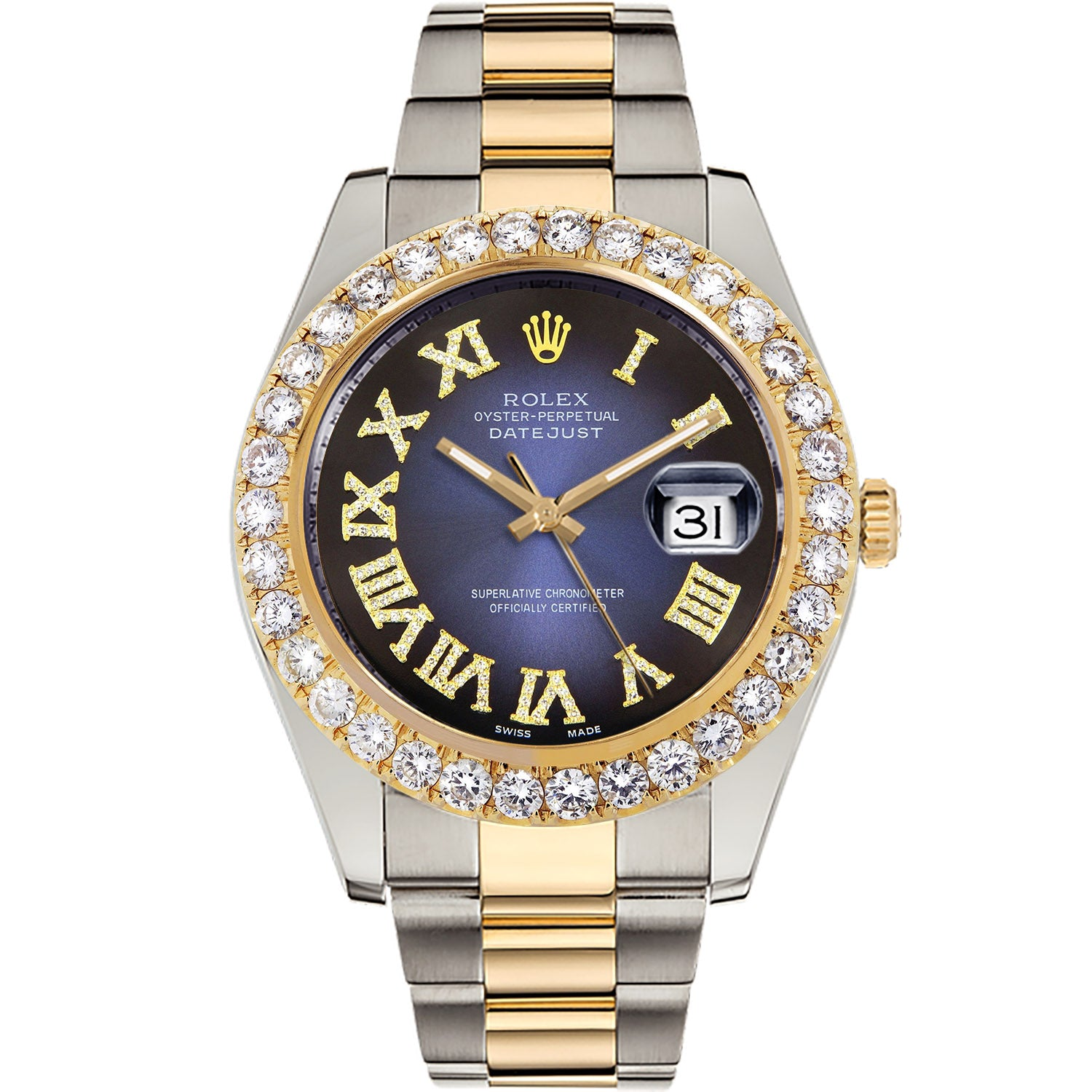 Diamond Rolex Two-Tone Datejust II 18K Gold 41 Blue Roman Watch