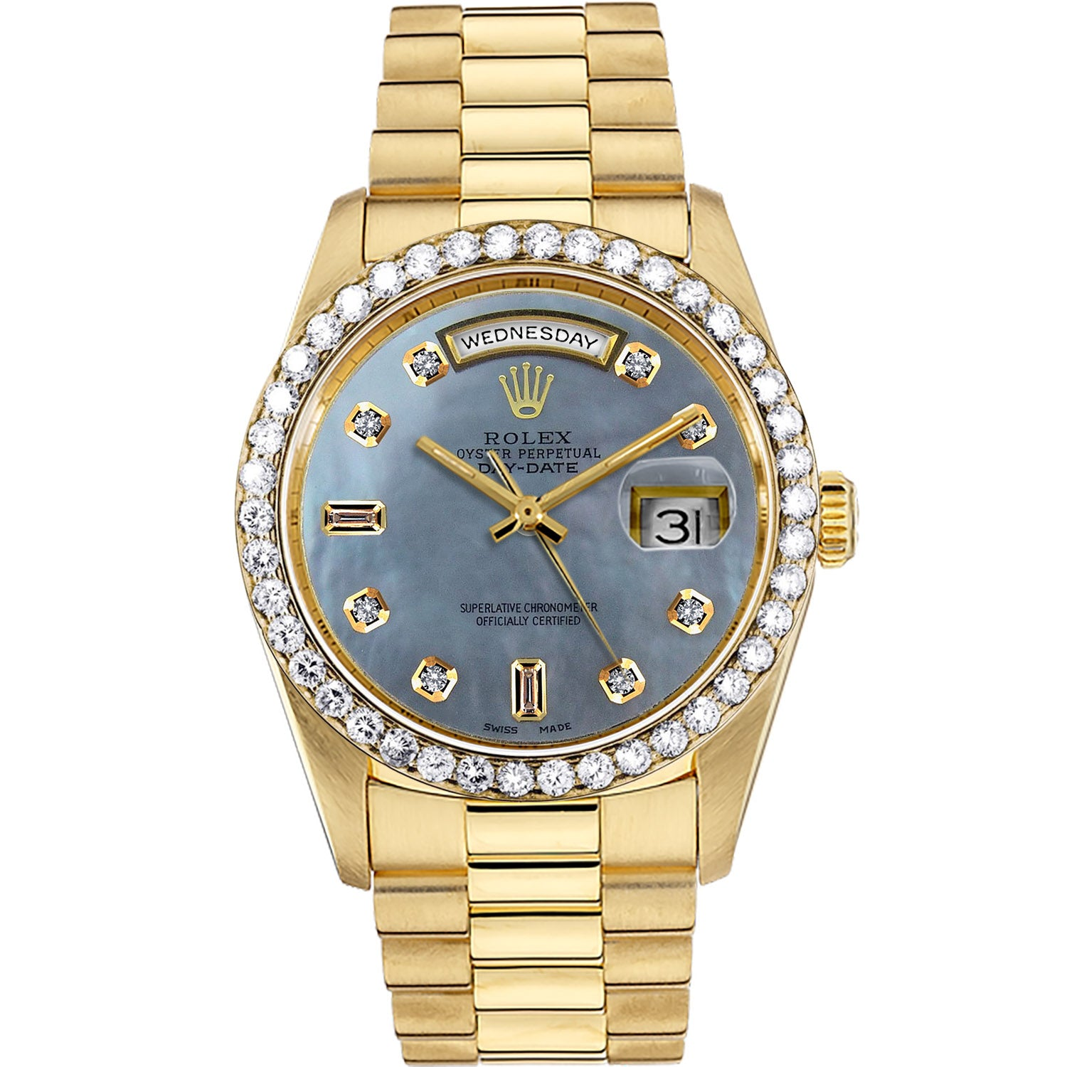 Diamond Rolex Presidential 18K Gold Day-Date 36 Pearl Baguette Watch