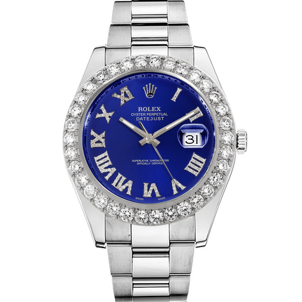 Diamond Rolex Datejust II 41 Stainless Steel Blue Roman Watch