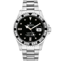 Diamond Rolex Submariner Stainless Steel Black Baguette Watch