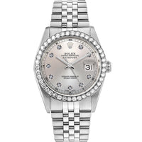 Diamond Rolex Datejust Stainless Steel 36 Grey Iced Watch