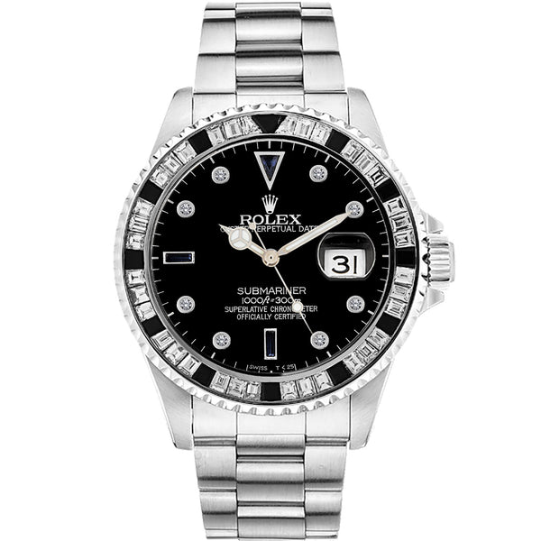 Diamond Rolex Submariner Stainless Steel Black Sapphire Watch