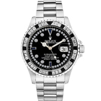 Diamond Rolex Submariner Stainless Steel Black Diamond Watch