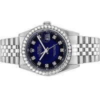 Diamond Rolex Datejust Stainless Steel 36 Blue Iced Watch