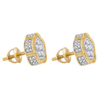 Men's 1.00 Ct Diamond Fluted Star Cluster Stud Earrings in 10K Yellow Gold