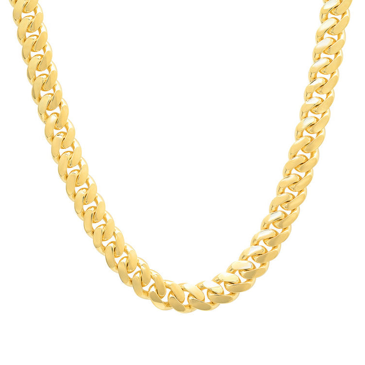 10K Yellow Gold Men's Solid Miami Cuban Link Chain