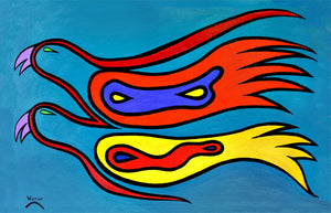 Equally Yoked, print by Mi'kmaq Artist Lorne Julien