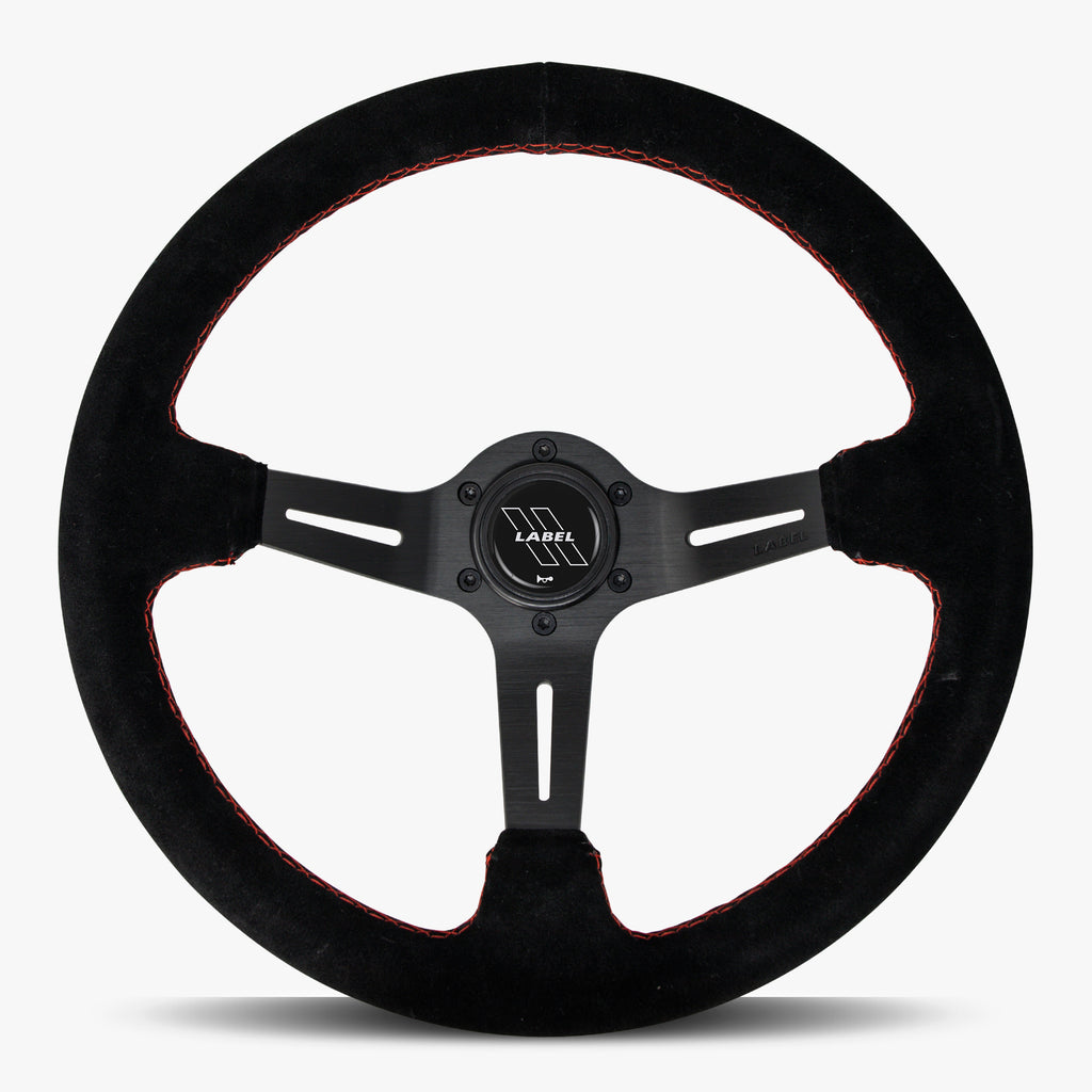 The Le Mans | Black Alcantara Suede | Black Spoke | Red Stitch