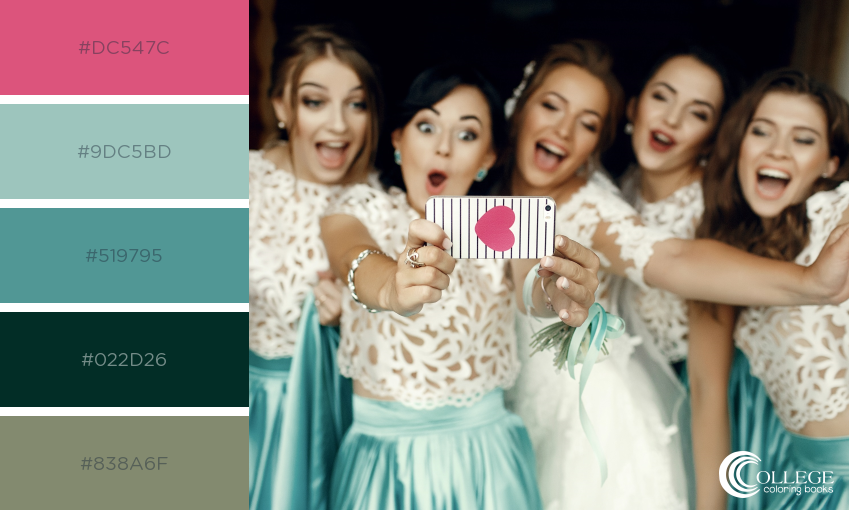 College Coloring Books Wedding Bride and Bridesmaids Selfie