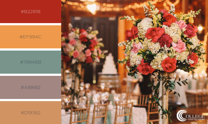 College Coloring Books Wedding Colorful Tablescape